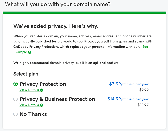 Private Domain Name Registration Add on from GoDaddy