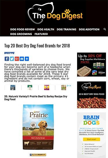 dog food solutions affiliate marketing website example