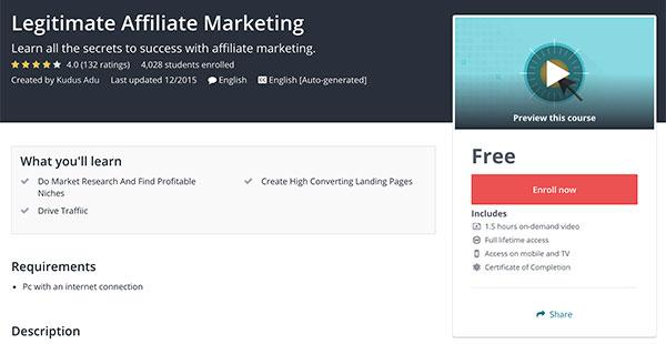 Legitimate Affiliate Marketing Free Udemy Course