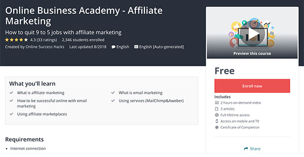 Online Business Academy Free Affiliate Marketing Course on Udemy