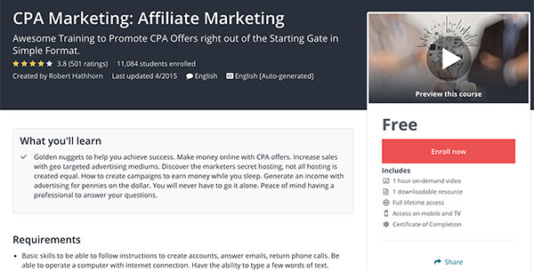 CPA Marketing Affiliate Marketing Free Udemy Course