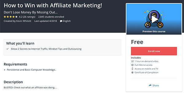 How to Win with Affiliate Marketing Free Udemy Course