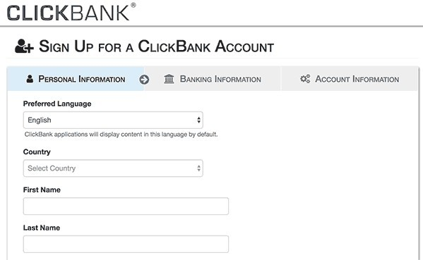 signup for clickbank affiliate account