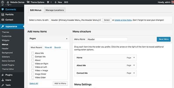 WordPress website navigation menus