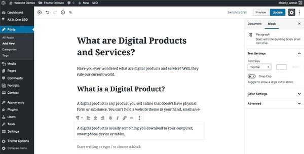 WordPress website posts