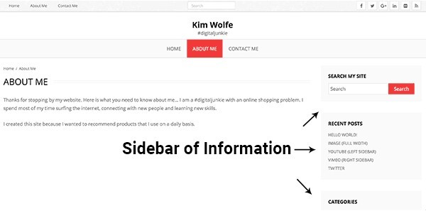 WordPress website sidebar example