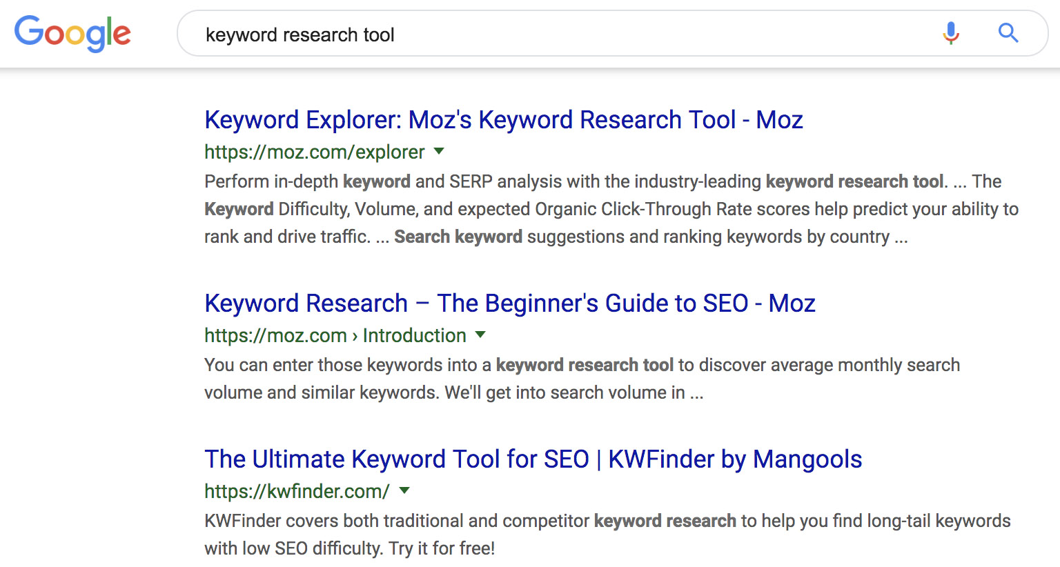 Google Keyword Search Example