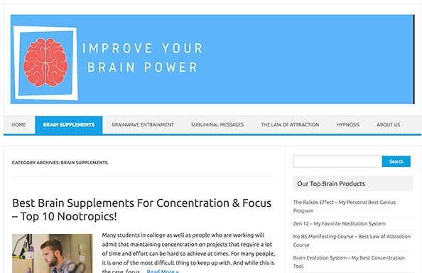 Improve Your Brain Power Wealthy Affiliate Website Example