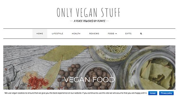 Only Vegan Stuff Affiliate Website Example