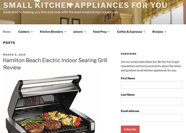 Small Kitchen Appliances Wealthy Affiliate website example