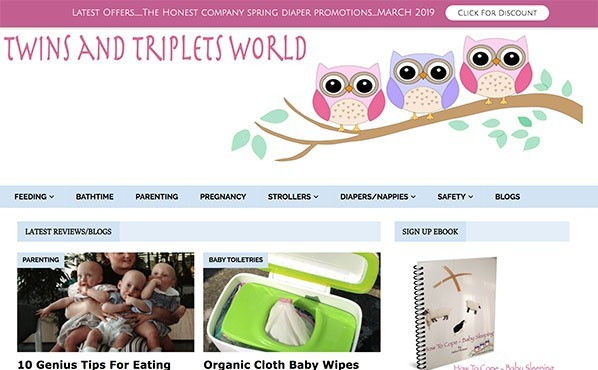 Twins and Triplets World Affiliate website example