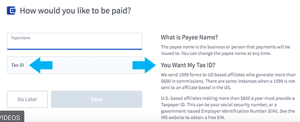 affiliate programs tax ID requirement for US affiliates sign form example