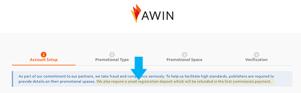 awin affiliate program small registration fee requirement statement