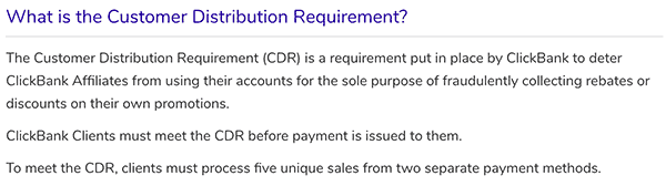 clickbank affiliate program customer distribution requirement (CDR)