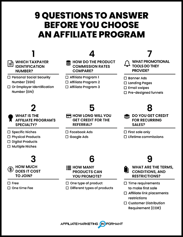 9 Questions to Answer Before You Choose an Affiliate Program Checklist