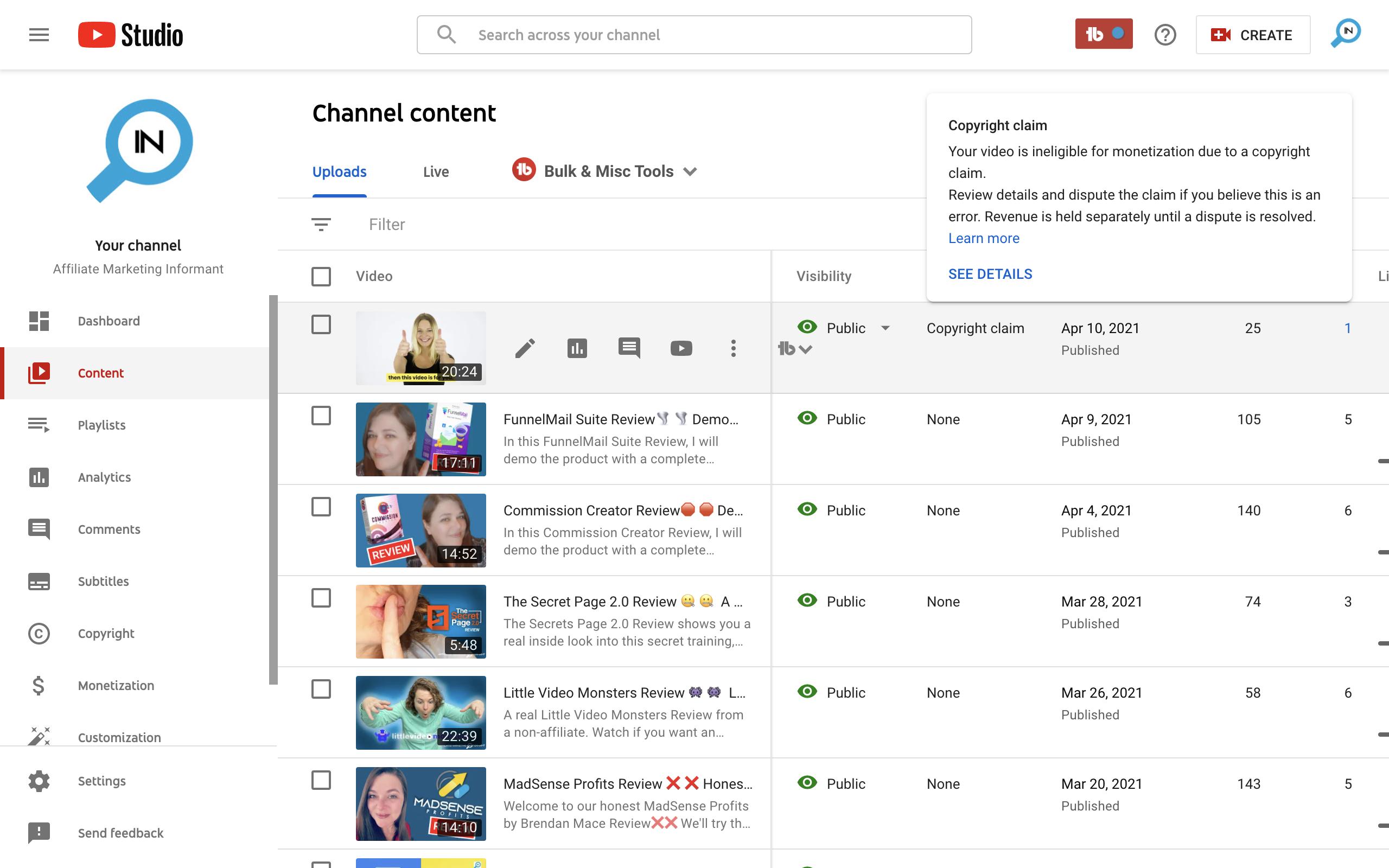 YouTube false copyright claim example