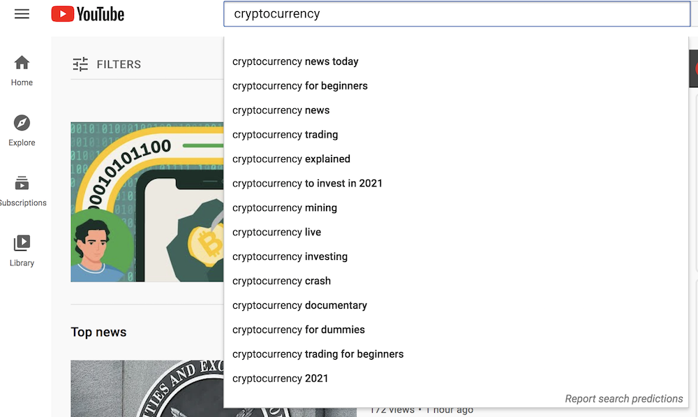 cryptocurrency keyword research in YouTube