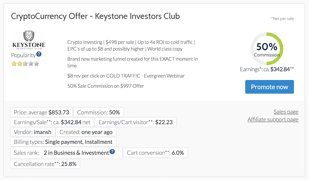 Cryptocurrency Offer by Keystone Investors Club Affiliate Offer on Digistore24